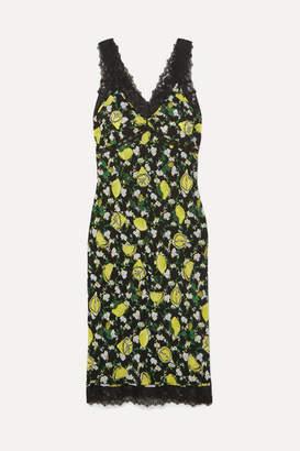 Diane von Furstenberg Issey Lace-trimmed Printed Silk Crepe De Chine Midi Dress - Green