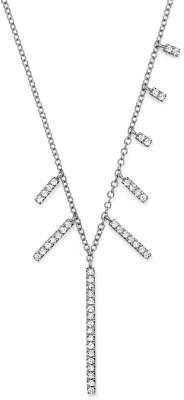 "Meira T 14K White Gold Multi-Diamond Bar Dangle Necklace, 16"""
