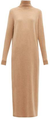 Allude Roll Neck Wool Blend Maxi Sweater Dress - Womens - Camel