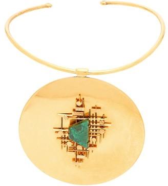 Karry O - Malachite Embellished Gold Choker - Womens - Gold