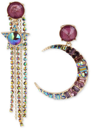 Betsey Johnson Gold-Tone Multi-Stone Moon & Star Fringe Mismatch Drop Earrings