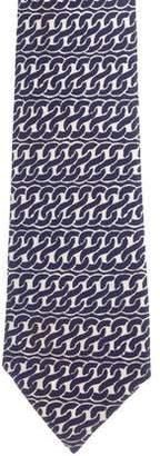 Hermes Chain-Link Print Silk Tie