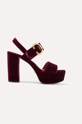 466c489db82f Prada Velvet Platform Sandals - Burgundy
