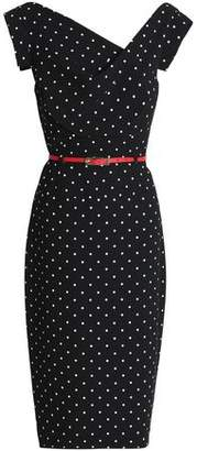 Black Halo Eve By Laurel Berman Jackie O Belted Polka-Dot Crepe Dress