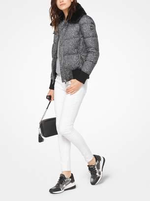 MICHAEL Michael Kors Fur-Trimmed Tweed-Print Jacket