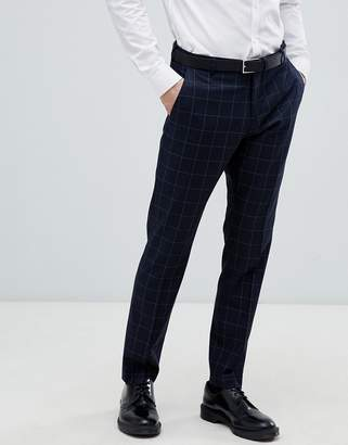 Selected Navy Suit PANTS With Grid Check In Slim Fit