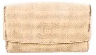 Chanel CC Straw Clutch