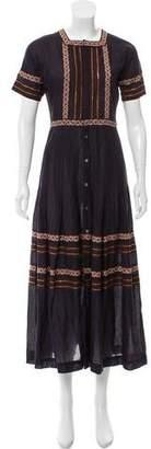 LoveShackFancy Embroidered Maxi Dress