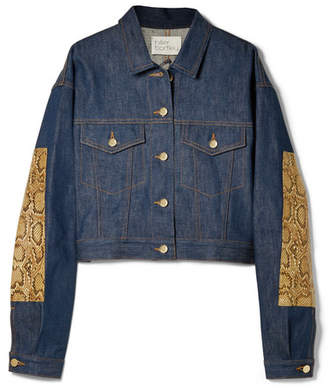 Hillier Bartley - Oversized Snake-effect Leather-trimmed Denim Jacket - Dark denim