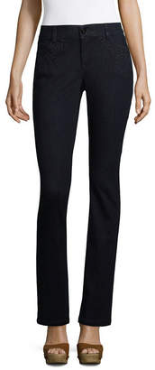 Liz Claiborne Embroidered Tapered Leg Flexi Fit Jean