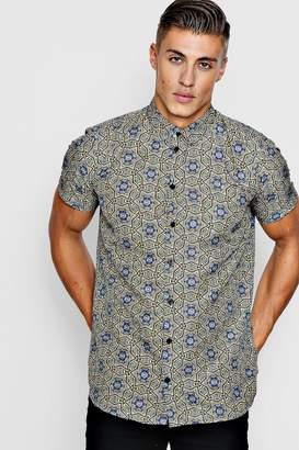 boohoo Star Print Short Sleeve Satin Shirt