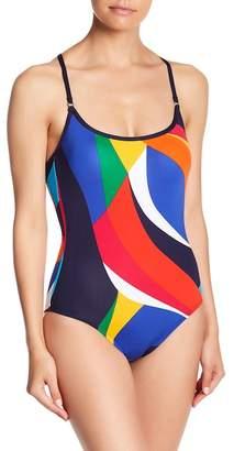 Nautica Colorblock Bandeau One-Piece Swimsuit