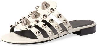 Balenciaga Mixed-Stud Leather Slide Flat Sandal