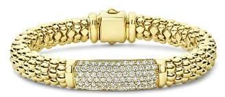 Lagos 18K Yellow Gold Caviar Gold Pavé Diamond Bead Bracelet
