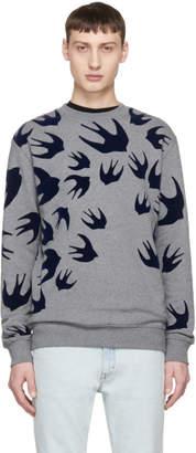McQ Grey Swallow Swarm Clean Sweatshirt