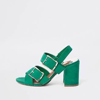 River Island Green double buckle heel sandals