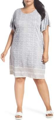 Lucky Brand Ruffle Sleeve Print Shift Dress