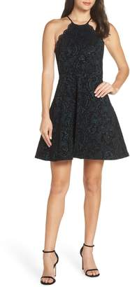 Sequin Hearts Flocked Fit & Flare Party Dress