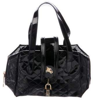 Burberry Quilted Patent Leather Handle Bag