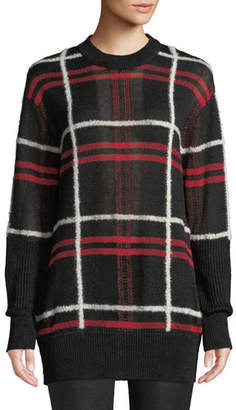 McQ Patched Linen-Wool Blend Check Sweater