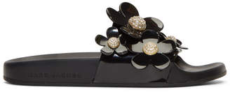 Marc Jacobs Black Daisy Pave Aqua Slides