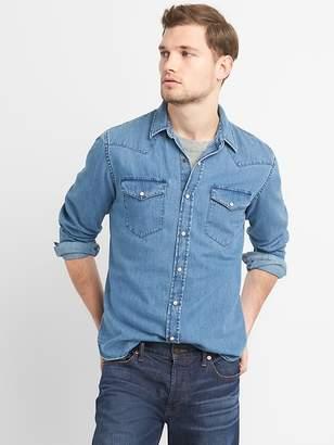 Gap Slim Fit Western Shirt in Denim