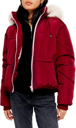 Topshop Lauren Hooded Puffer Jacket with Faux Fur Trim