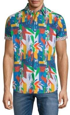Robert Graham Lakelane Short-Sleeve Cotton Button-Down Shirt