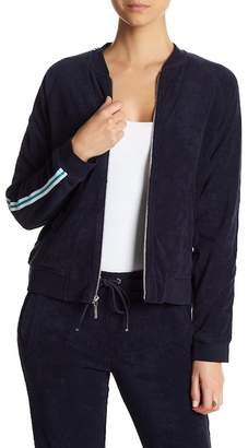 Andrew Marc Terry Cloth Striped Sleeve Bomber Jacket