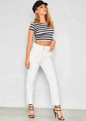 b4d12a68435 Missy Empire Missyempire Nova White High Waist Paperbag Jeans