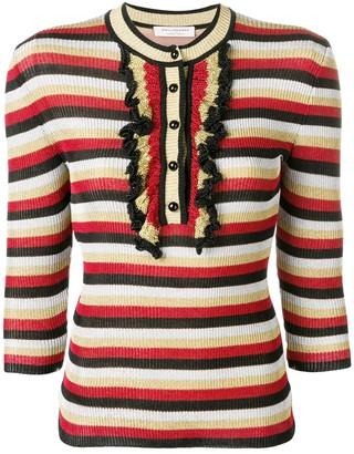 Philosophy di Lorenzo Serafini ruffle detail striped sweater