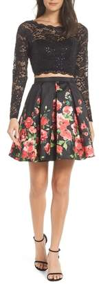 Sequin Hearts Two-Piece Lace & Floral Print Party Dress