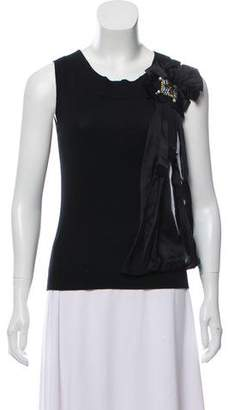 Magaschoni Silk and Cashmere Blend Sleeveless Embellished Knit Top