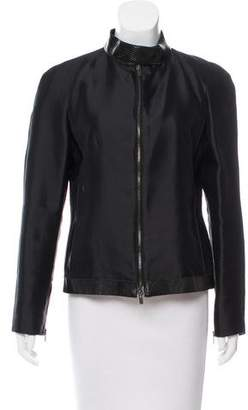 Fendi Leather Trimmed Wool & Silk-Blend Jacket
