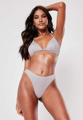 b051805ea1 Missguided Silver Rib Mix And Match High Leg Thong Bikini Bottoms