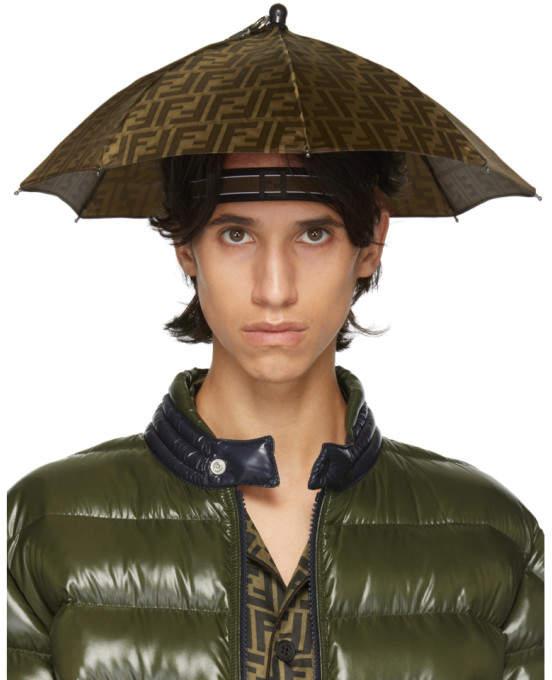 Fendi Tan and Brown Forever Fendi Umbrella Hat