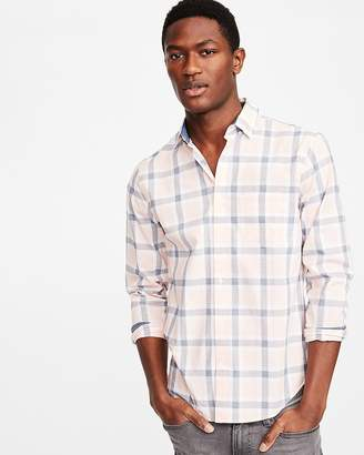 Express Slim Soft Wash Plaid Button Collar Shirt