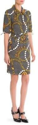 Moschino Belted Chain-Print Shirtdress