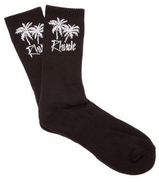 Rhude Palm Tree Cotton Blend Socks - Mens - Black