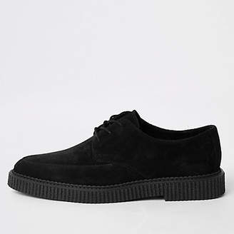 River Island Black suede embossed chunky creeper shoes