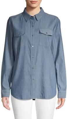 Karl Lagerfeld Paris Logo Chambray Button-Down Shirt