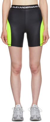 Alexander Wang Black and Yellow Logo Elastic Wash and Go Biker Shorts
