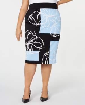 41716e4581 Alfani Plus Size Printed Scuba Pencil Skirt, Created for Macy's