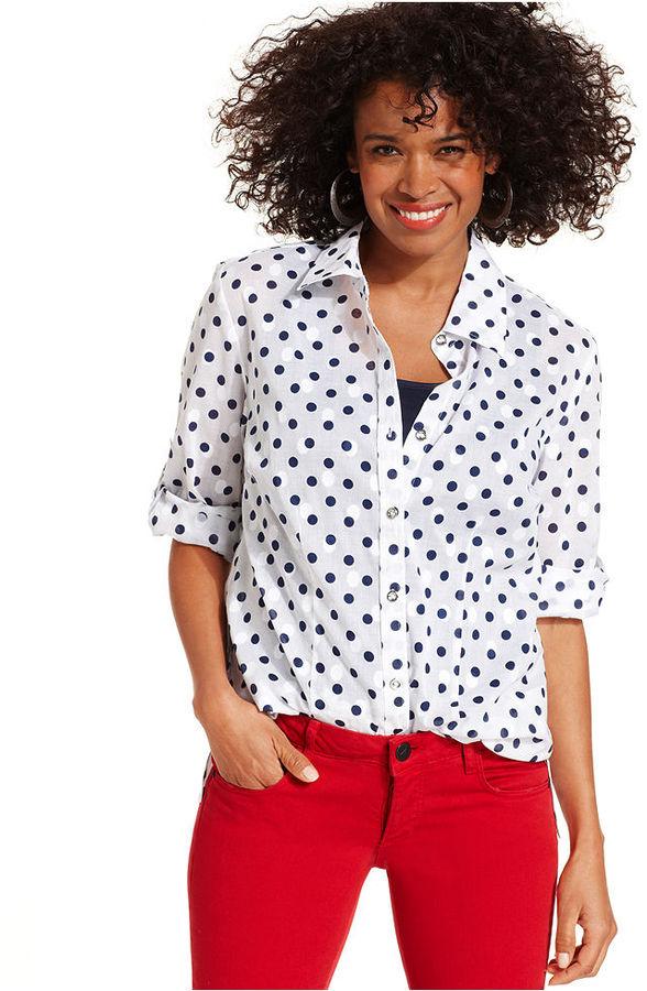 Karen Scott Shirt, Three-Quarter-Sleeve Polka-Dot