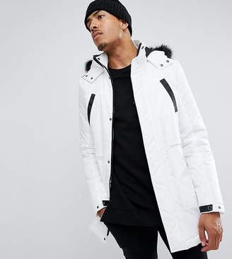 Asos DESIGN Tall parka jacket with faux fur trim in white
