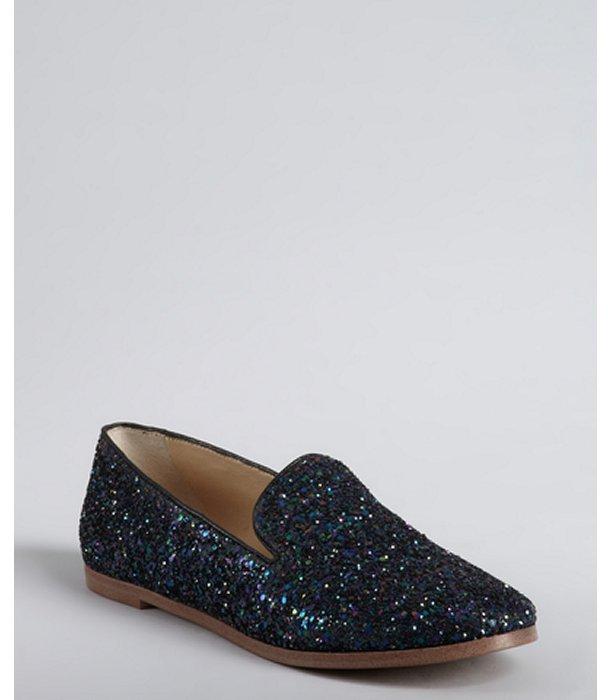 Matt Bernson iris leather 'Gitanes' glitter slip-on loafers