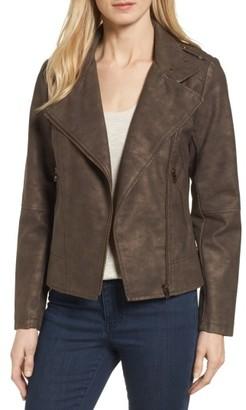 Women's Catherine Catherine Malandrino Faux Leather Moto Jacket $125 thestylecure.com