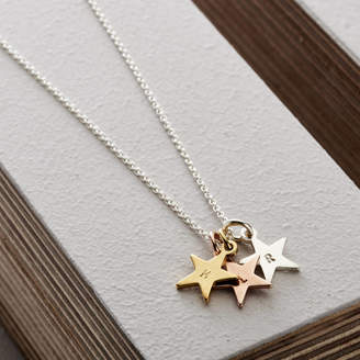 1b9cc09d7 Posh Totty Designs Personalised Tricolore Stars Necklace