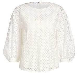 25b43b965fdad2 Akris Punto Women s Blouson Sleeve Organza Dot Blouse