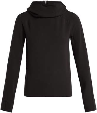 Paco Rabanne Logo-ribbon funnel-neck hooded top